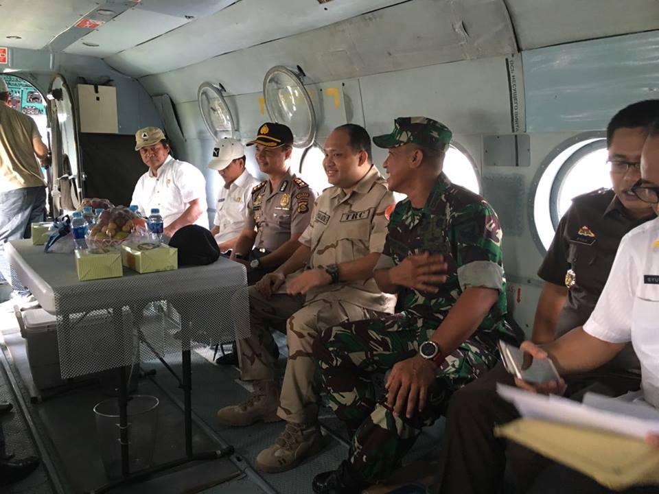 Bupati Bersama FKPD Banyuasin Pantau Hot Spot Dari Udara